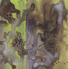 """Green and Seedy, 2014, Mixed Media on Panel, 6x6x1.5"""", Krystal Booth."""