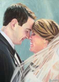 """Mr. and Mrs. Judkins, 2014, Oil on Canvas, 12x9"""", Krystal Booth."""