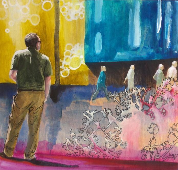"Portland Story 1, Box Series, 2015, Mixed Media Painting on Panel, 8x8x1.5"", Krystal Booth."