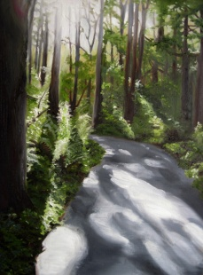 """Through the Trees, 2013, Oil on Panel, 16x12"""", Krystal Booth."""