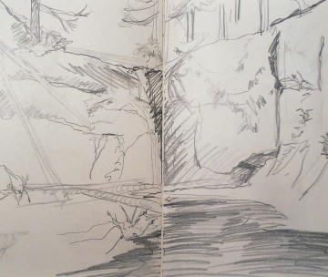 Sketch at Silver Falls, 2015, Sketchbook, Krystal Booth